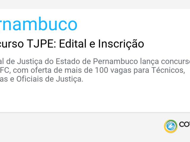 Concurso TJPE: Edital e Inscrição