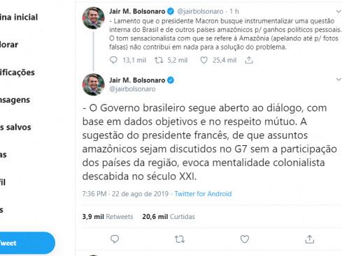 Bolsonaro: Discussão sobre Amazônia no G-7 evoca colonialismo
