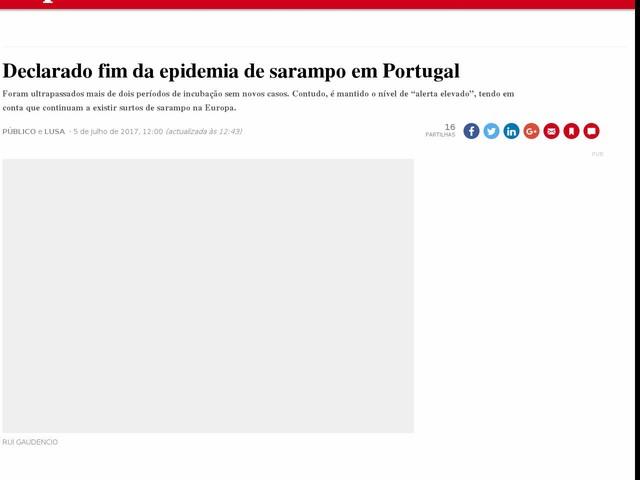 Declarado fim da epidemia de sarampo em Portugal