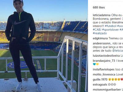 """Capa da Playboy, filha de Datena vai à Bombonera e se impressiona com estádio: """"Chacoalha inteiro"""""""
