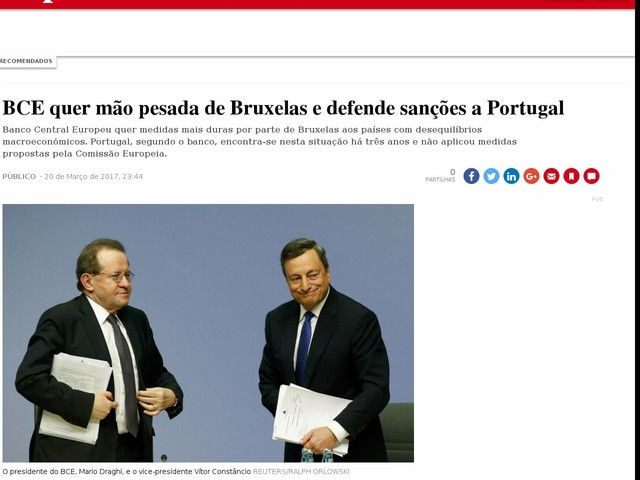 BCE quer mão pesada de Bruxelas e defende sanções a Portugal