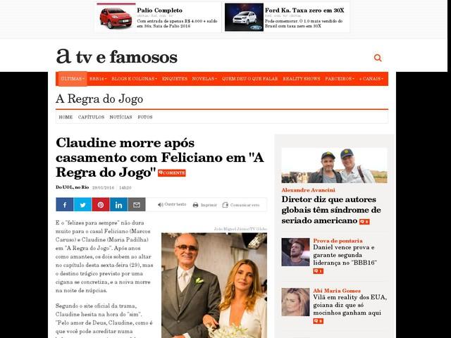 """Claudine morre após casamento com Feliciano em """"A Regra do Jogo"""""""