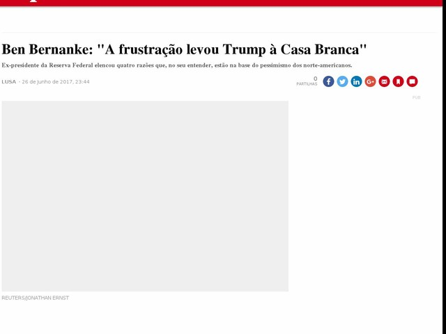 "Ben Bernanke: ""A frustração levou Trump à Casa Branca"""
