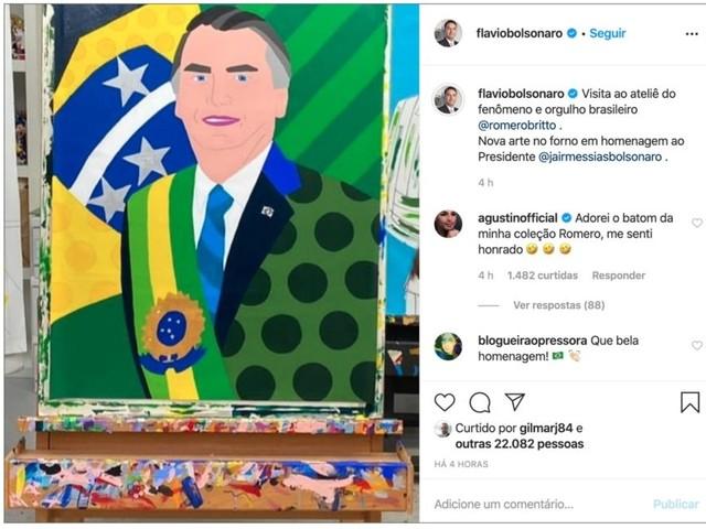 Homenagem de Romero Britto a Jair Bolsonaro vira piada nas redes