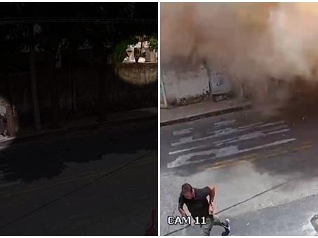 Novo vídeo mostra prédio caindo sobre pessoas e vigilante escapando