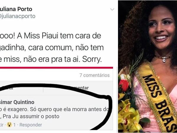 """""""Tem cara de empregadinha; devia morrer"""". Nova miss Brasil reage ao racismo"""