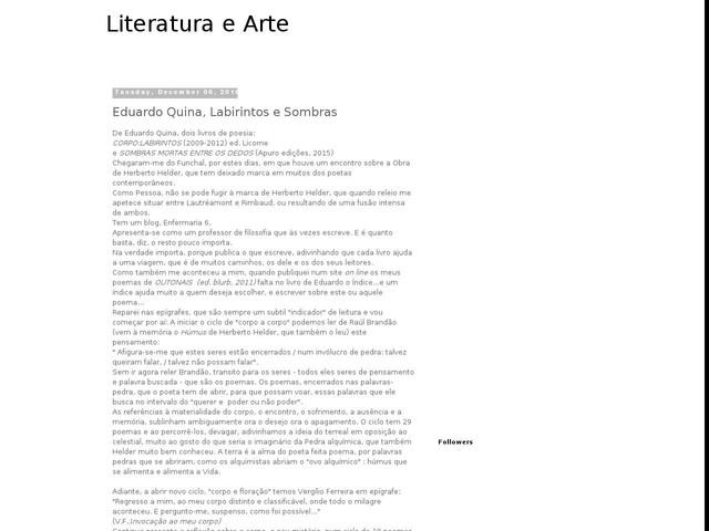 Eduardo Quina, Labirintos e Sombras