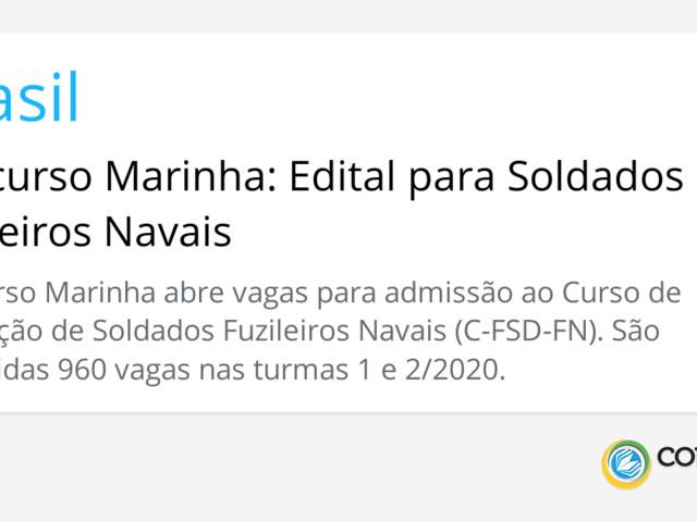 Concurso Marinha: Edital para Soldados Fuzileiros Navais