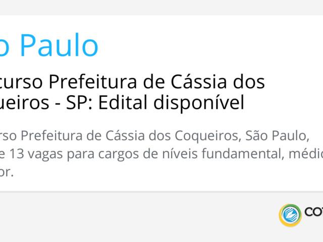 Concurso Prefeitura de Cássia dos Coqueiros - SP: Edital disponível