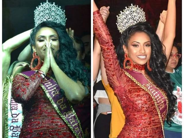 Bailarina do Faustão Karoline Moraes comemora posto de rainha da Mocidade Unidos da Mooca