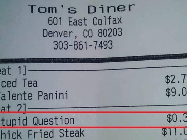 Restaurante cobra R$ 1,50 por 'pergunta estúpida'