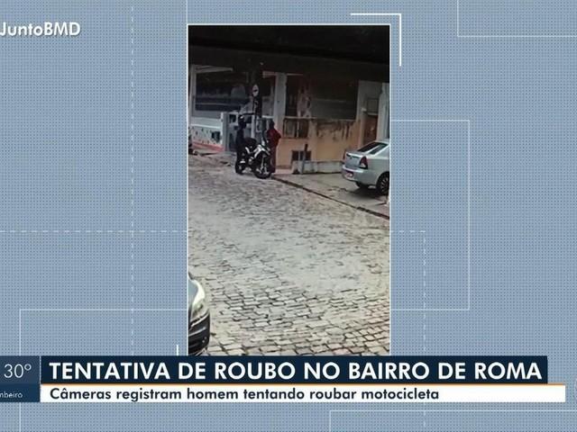 VÍDEO: Homem rouba moto em Salvador, não consegue sair com o veículo e foge correndo; assista