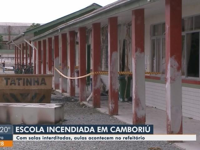 Após incêndio, mais de mil alunos de escola de Camboriú têm aulas em refeitório
