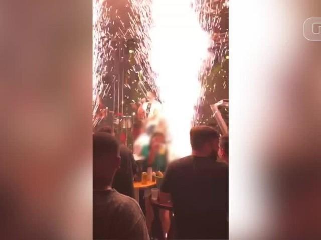 Vídeo mostra momento em que vítima é atingida por fogos durante show pirotécnico em boate de Teresina