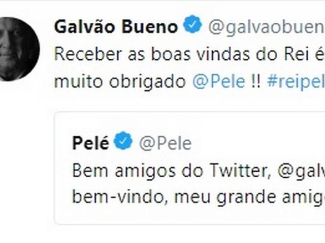 Estreante no Twitter, Galvão Bueno agradece boas-vindas de Pelé