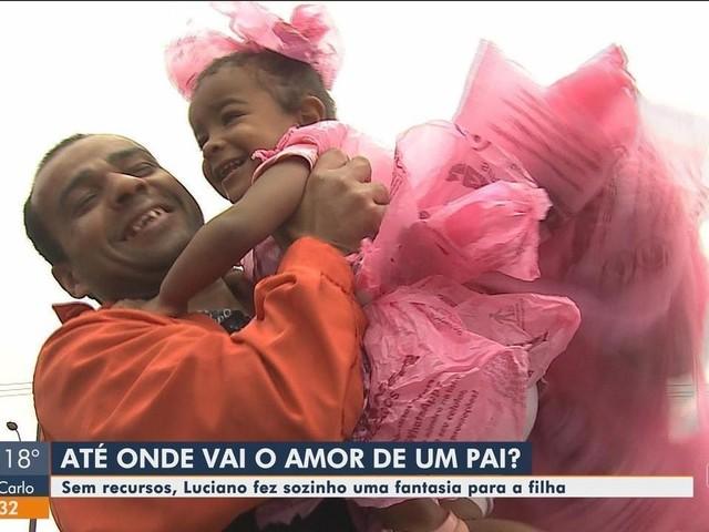 Sem dinheiro, pai usa sacolas de mercado e cria fantasia de princesa para filha ir a festa em escola de SC