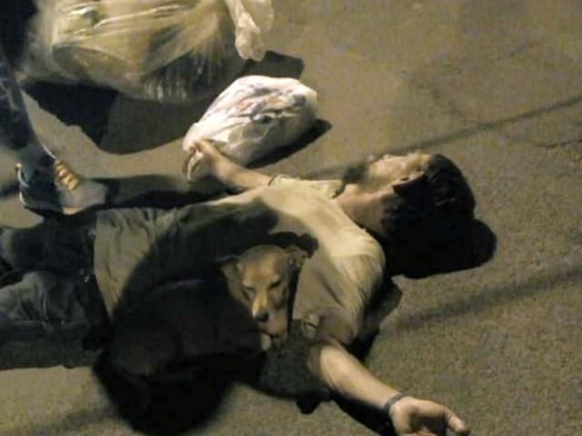 Catador de recicláveis desmaia na rua e é 'vigiado' por seus cães até a chegada do socorro