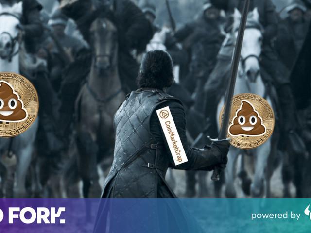 This CoinMarketCap parody site tracks Bitcoin's market cap, plus 99 shitcoins