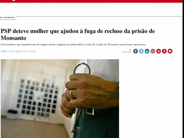 PSP deteve mulher que ajudou à fuga de recluso da prisão de Monsanto