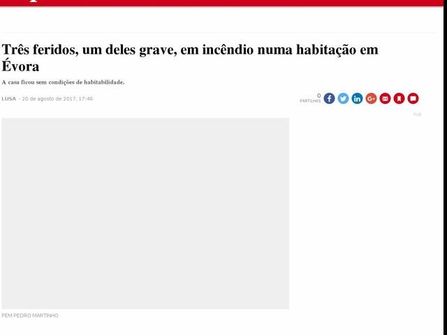 Três feridos, um deles grave, em incêndio numa habitação em Évora