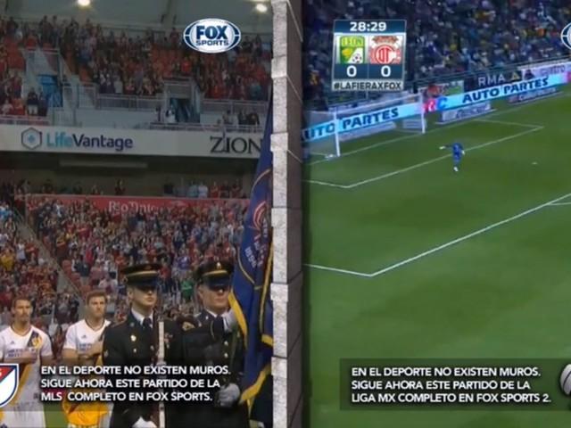 Fox Sports no México transmite jogo da liga americana e mexicana separado por um muro