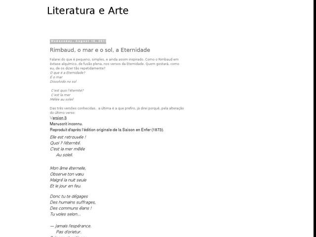 Rimbaud, o mar e o sol, a Eternidade