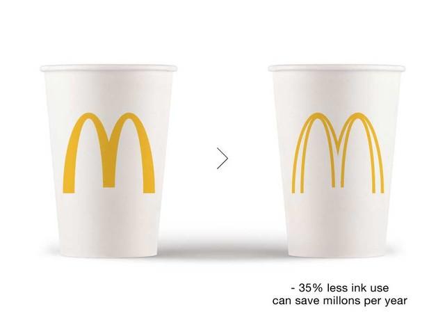 Reduzierte Markenlogos zur Einsparung von Druckertinte