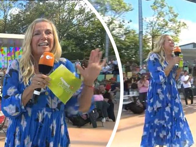 """Blaues Partyzelt"": Fans lästern über Andrea Kiewels Outfit im ZDF-Fernsehgarten"