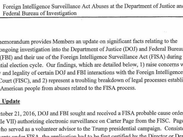 FISA-Memo ist jetzt veröffentlicht worden