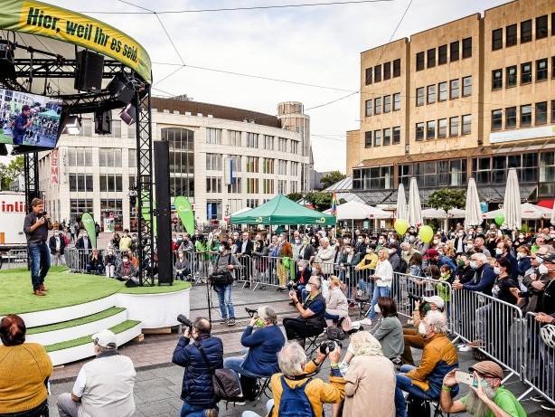 Bundestagswahl: Wahlkampf in Essen: Robert Habeck erntet viel Beifall