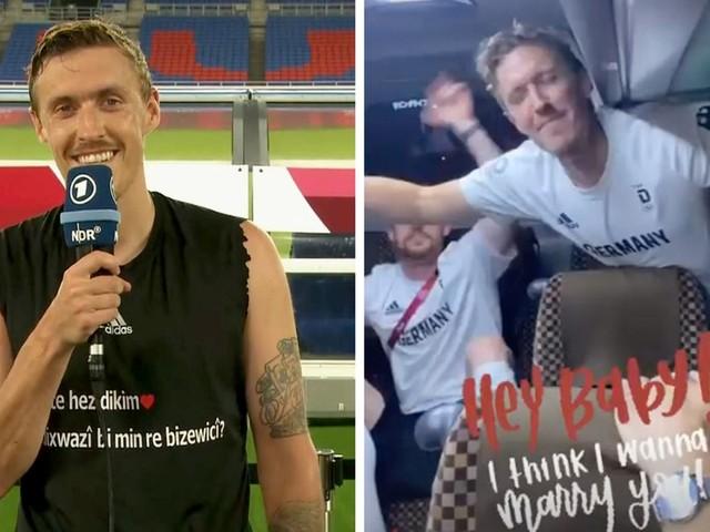 Nach Antrag im Live-TV: Max Kruse feiert im Team-Bus Ja-Wort seiner Freundin
