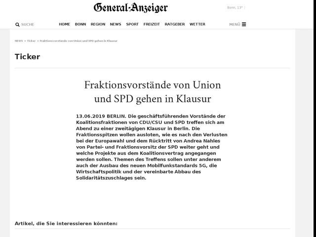 Fraktionsvorstände von Union und SPD gehen in Klausur