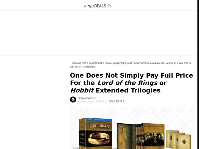 One Does Not Simply Pay Full Price For theLord of the Ringsor HobbitExtended Trilogies