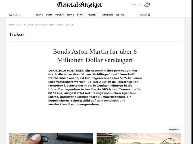 Bonds Aston Martin für über 6 Millionen Dollar versteigert