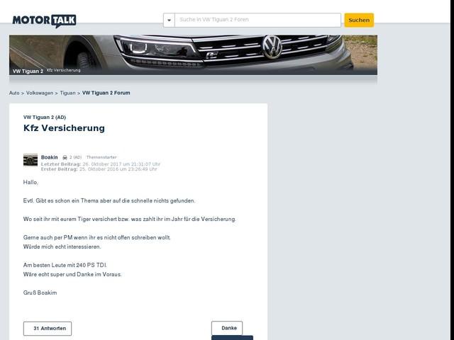Kfz Versicherung : VW Tiguan 2