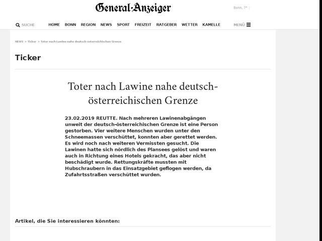 Toter nach Lawine nahe deutsch-österreichischen Grenze