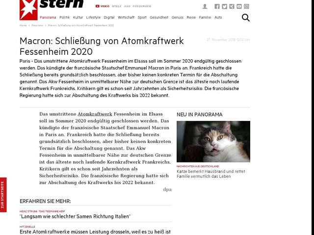 Macron: Schließung von Atomkraftwerk Fessenheim 2020