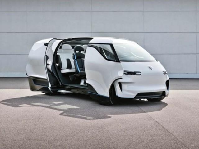 Elektromobilität : Fusion aus Bulli und Rennwagen? Porsche präsentiert neue Bilder zu möglichem Elektrobus