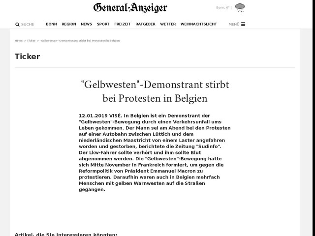 """Gelbwesten""-Demonstrant stirbt bei Protesten in Belgien"