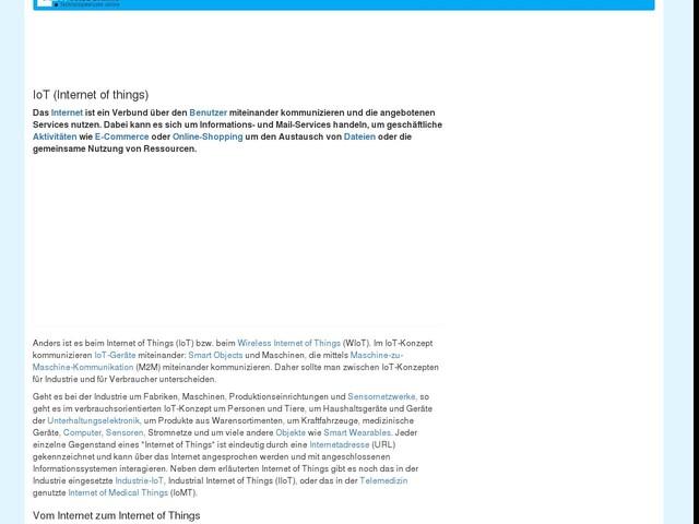 IoT (Internet of things) :: Internet der Dinge :: ITWissen.info