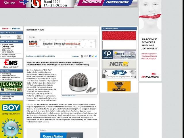 Nordson BKG: Siebwechsler mit Filterkerzen verlängern Filterstandzeit und Produktqualität bei der PET-Verarbeitung