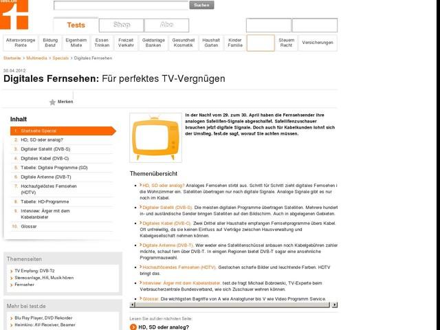 Digitales Fernsehen - Für perfektes TV-Vergnügen - Special - Stiftung Warentest