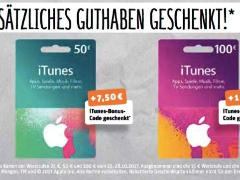 iTunes Karten billiger kaufen: 15 Prozent Extra-Guthaben bei REWE