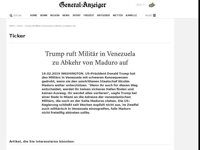 Trump ruft Militär in Venezuela zu Abkehr von Maduro auf