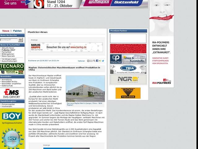 Maplan: Österreichischer Maschinenbauer eröffnet Produktion in China