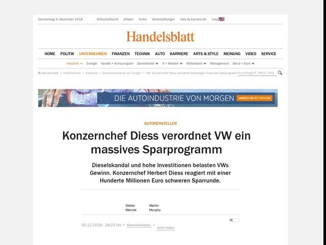Autohersteller: Konzernchef Diess verordnet VW ein massives Sparprogramm