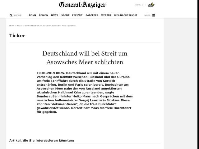 Deutschland will bei Streit um Asowsches Meer schlichten