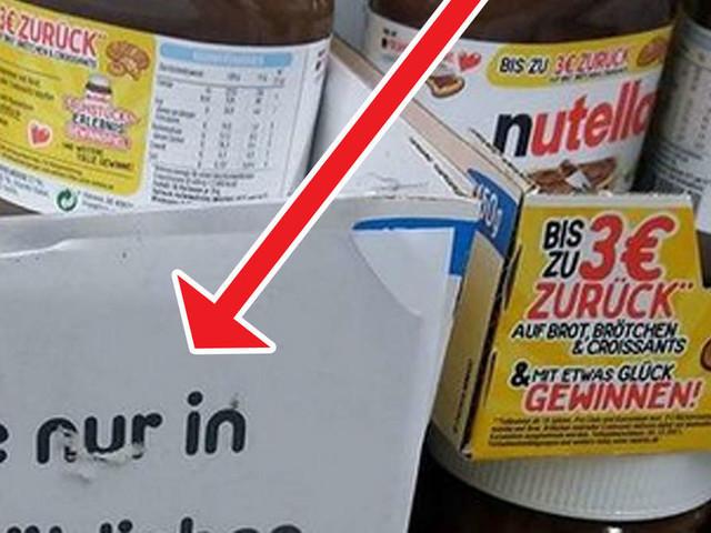 """Supermarkt-Schild an Nutella-Gläsern sorgt für Lacher - """"Reicht das für dich?"""""""