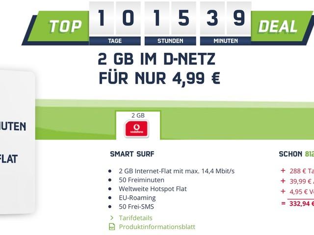 2GB Internet-Flat + 50 Freiminuten nur 4,99 Euro