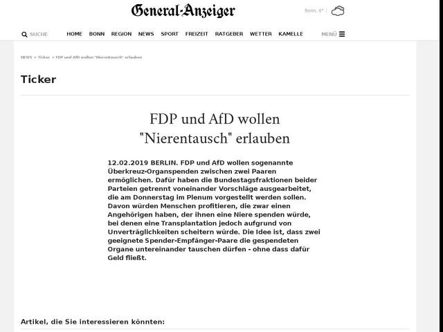 """FDPund AfD wollen """"Nierentausch"""" erlauben"""